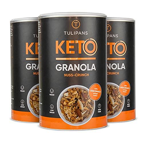 Tulipans Keto Nuss-Crunch Granola - Low Carb Knuspermüsli | 3 x 250 g | 80% weniger Kohlenhydrathe als herkömmliche Müslis | vegan | unterstützt ketogene Ernährung