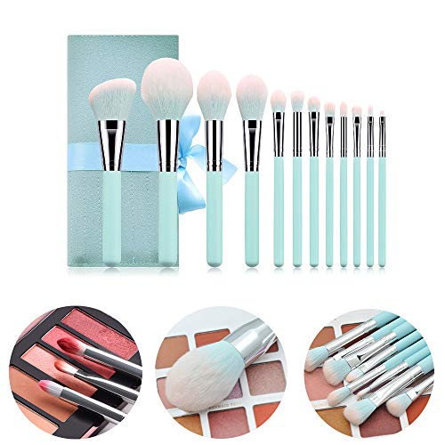 12 pièces de pinceau de maquillage, brosse à yeux en poudre à manche en bois bleu clair avec sac, kits d'outils de beauté de maquillage professionnel pour femmes