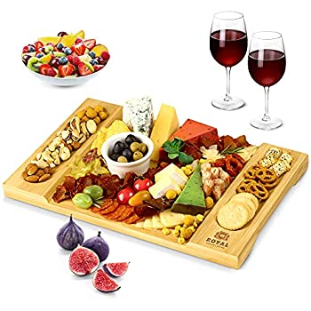 Unique Bamboo Cheese Board Charcuterie Platter and Serving Tray for Wine Crackers Brie and Meat Large and Thick Natural Wooden Server - Fancy House Warming Gift & Perfect Choice for Gourmets