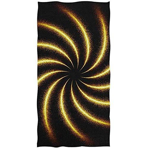 La.R Golden Sparkle Glitter Spiral Swirl On Black badhanddoek, zacht, absorberend, multifunctioneel, voor badkamer, hotel, fitnessstudio en spa, 30 x 70 cm