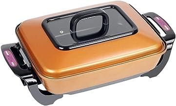 JTJxop Poêle Électrique avec Couvercle, Pot Chaud Électrique 15 × 12 Pouces, Plat De Cuisson Électrique, avec Évacuation D...