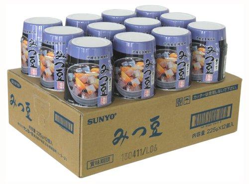 サンヨー みつ豆(黒みつ) 225g×12個
