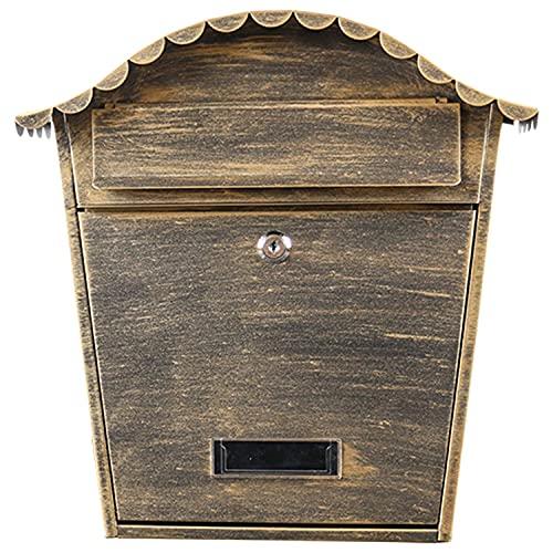 AQAQ Abschließbarer Briefkasten für die Wandmontage, Vintage-standbriefkasten mit Sicherem Verschluss, Stilvolle Dekorative Postkasten aus Verzinktem Blech