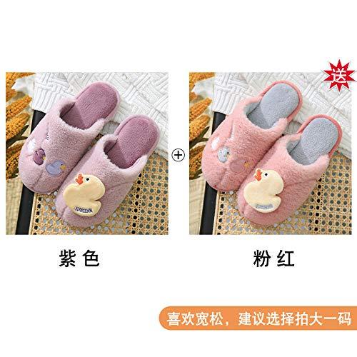 NIKAI Schafwolle Hausschuhe,Haushaltshefterzufuhren des weiblichen Haupthauptherbstes und des netten Innenpaares des unteren Plüschs der starken-2 Doppel 42-43_Lila + Pink