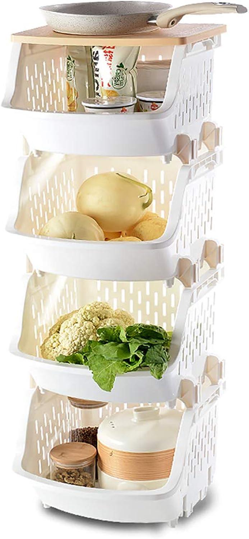 4 Tier Storage Stacking Basket Multi-Function Plastic Fruit Vegetable Storage Shelf for Kitchen Bathroom Living Room (color   C)