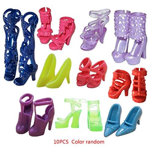 Kleur willekeurige 10 paar poppen schoenen, plastic mini hoge hakken, 10 stuks schoenen podium miniatuur meisjes vrouwen aankleden hoge hakken speelgoed accessoires