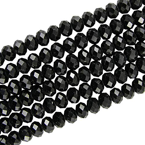Crystal Glass 6X4MM Black Faceted RONDELLE APPR.90 Beads 1 Strand for Jewellery Making