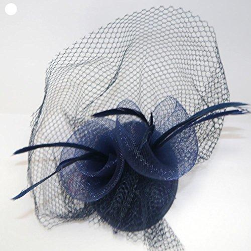 Petit bibi avec plumes et filet sur 2 pinces à fourche Bleu marine