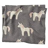 Mud Pie Soft Cotton Nursery Decor Unicorn Blanket, Grey