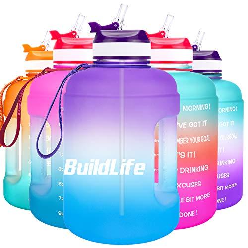 BuildLife - Bottiglia d'acqua da 2,2 l, con apertura ampia con cannuccia e indicazione del tempo per bere quotidianamente, senza BPA, riutilizzabile, per palestre, sport, attività all'aperto