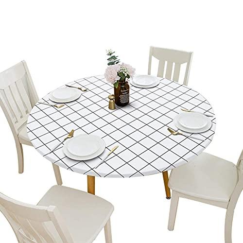 GeKLok Mantel redondo ajustable con patrones a cuadros, mantel redondo impermeable, con bordes elásticos para mesa de cocina, comedor (blanco, tamaño: 80 cm)