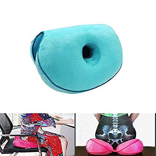 Cojín de asiento Dual Comfort Cushion Lift Hips Up, cojín de asiento, cojín ortopédico de espuma viscoelástica para ciática, coxis y dolor de cadera, alivio de presión en la espalda (morado)