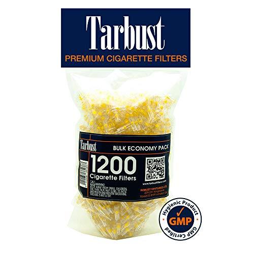 Tarbust Filtros para Cigarrillos, Filtros Desechables, Paquete Económico, 1200 por Paquete | Con il Sistema de Bloqueo de Nicotina, de Alquitrán