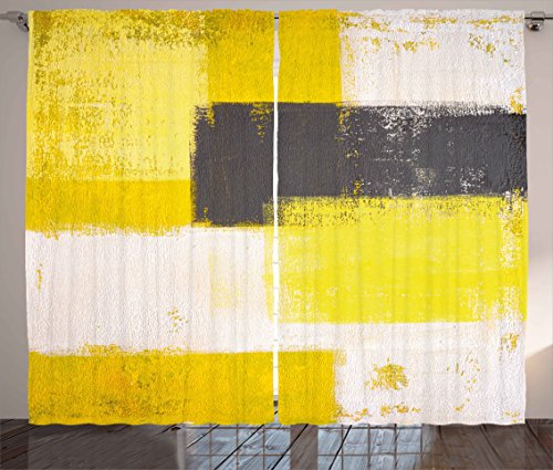 """Ambesonne Grey and Yellow Curtains, Abstract Grunge Style Brushstrokes Painting Style, Living Room Bedroom Window Drapes 2 Panel Set, 108"""" X 90"""", White Charcoal"""