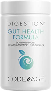 Codeage Gut Health Supplements Vegan Formula - L Glutamine, Zinc, Turkey Tail Mushroom Powder, Tonic Mushroom, Maitake, Mi...
