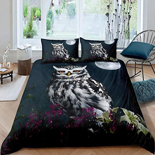 Zooseso 3D Printing Custom Bedding Set ( Super King size 260 x 230 cm ) Night moon animal owl plant floral pattern - Microfiber Home Textiles Twin Queen King Size Duvet Cover Sets Soft Easy Care Ant