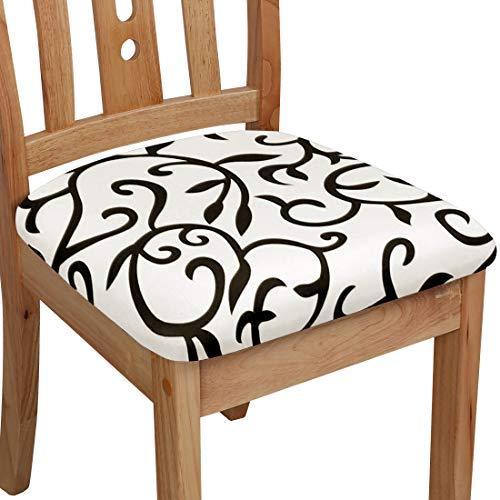 PiccoCasa - Funda para asiento de silla con lazos, poliéster, elástica, para sillas de comedor, cocina, juego de 6 unidades, color blanco y negro