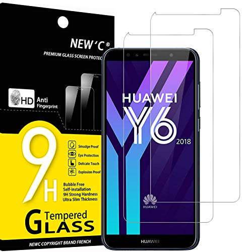 NEW'C 2 Stück, Schutzfolie Panzerglas für Huawei Y6 2018, Honor 7A, Frei von Kratzern, 9H Festigkeit, HD Bildschirmschutzfolie, 0.33mm Ultra-klar, Ultrawiderstandsfähig