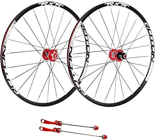 24 Agujero Disco de montaña Rueda de bicicleta, 26 pulgadas de doble pared de MTB cassette del eje del lanzamiento rápido del V-Brake de bicicletas de ruedas híbrido 8 9 10 Velocidad,Red-27.5inch