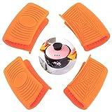 Ceqiny 2 pares de asas silicona para ollas agarraderas para ollas agarres para cocinar agarres para wok utensilios de cocina mango de silicona para ollas de hierro fundido sartenes planchas, naranja
