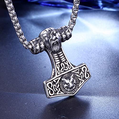CNZXCO Brazalete Vikingo, 2pcs Pulsera Vikinga Hombre, Amuletos De La Suerte Y Proteccion, Collar De Hombres Joyería, Vikingo Nórdico, Thors Hammer Mjolnir Viking Runenhammer