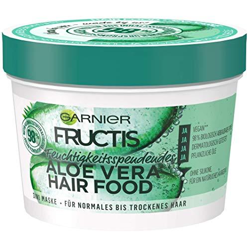Garnier Haarmaske, Aloe Vera, Hairfood feuchtigkeitsspendende 3in1 Maske, unbeschwerend für geschmeidiges Haar, Fructis, 390 ml