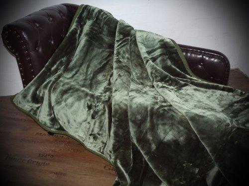 Natur-Fell-Shop Kuscheldecke Tagesdecke Decke Glanz-Design dunkel - grün 160x200cm