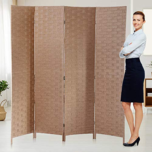 Room Dividers Privacy Screen Room Panel Folding Screens 4 Panel Partition Wall 6FT Tall Room Divider for Living Room Bedroom Study Portable Room Seperating Home Furniture Cheap dividers,Natural