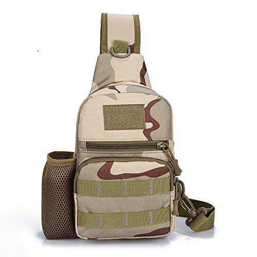 LYY Sac de Poitrine Nylon Pique Nique Tactiques Portable Grande capacité Homme et Femme Pack de Poitrine Sac de Messager Sling Bag, Desert Camouflage