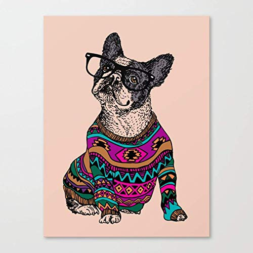 mlpnko Hipster bulldog DIY Paint by Numbers for Adults Beginner Kids, Canvas Acrylic Stress Less Number Painting Gifts30x40cm DIY FRAME