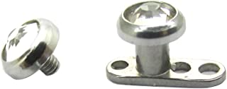 316L Steel Internally Threaded Prong Setting Round Flat Gem Micro Dermal Anchor Tops Replacement Head
