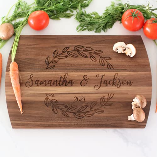 Personalized Cutting Board, Laser Engraved Gift for Anniversary or Wedding, Custom Charcuterie Board for Housewarming, Maple, Cherry, or Walnut in Three sizes, Unique Engagement Gift for Couple