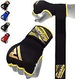 RDX Boxe Bandes Bandage MMA Sous Gants Protège Poignet Bande D'entrainement Muay Thai - Noir/Jaune - Large