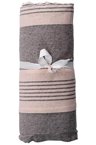 HomeLife – Foulard Multiusos – Tela Decorativa Cubre sofá con diseño de Rayas, 160x280, fabricación Italiana – Granfoulard de algodón – Cubrecama Individual (Cama 1 Plaza) – Gris