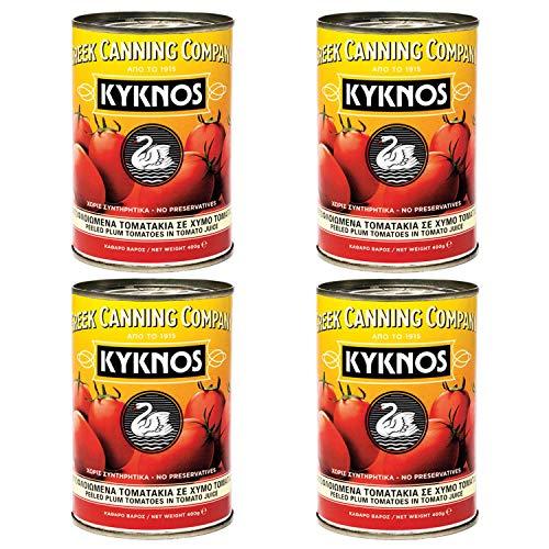 Kyknos - ganze geschälte Tomaten - 400g Dose, 4er Pack (4 x 400g)