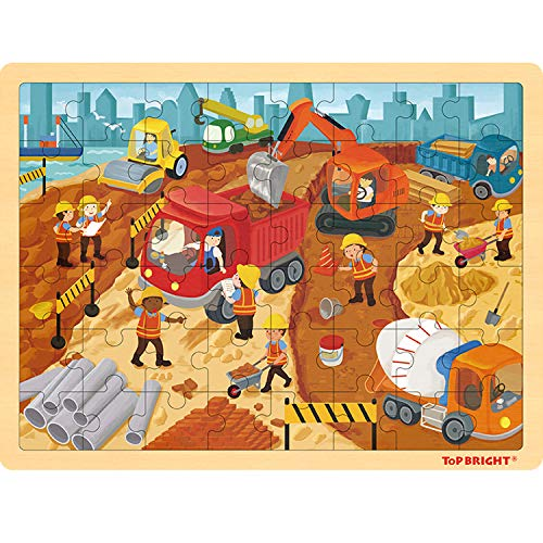 TOP BRIGHT 48 Piece Puzzles for Kids Ages 4-8 - Construction Wooden Jigsaw Puzzles for Toddlers 4 Year Old