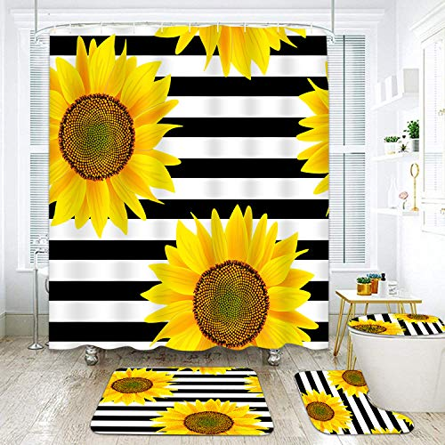 "Britimes 4 Pcs Shower Curtain Set Sunflowers Striped Black White Flower with Non-Slip Rugs Toilet Lid Cover and Bath Mat Bathroom Decor Set 72"" x 72"""
