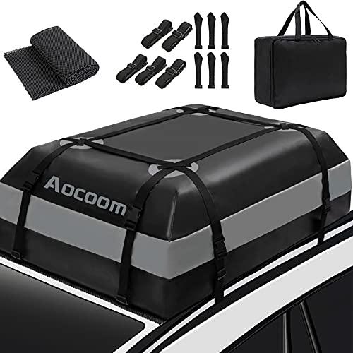 Aocoom Car Roof Bag Rooftop Cargo Carrier, 15 Cubic Feet Waterproof Car Top Luggage Storage Bag with...