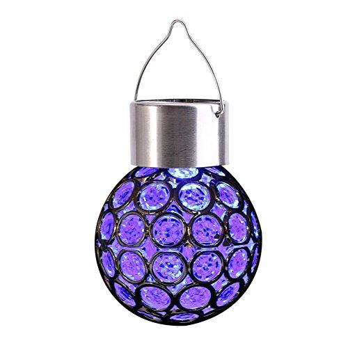 Yosoo Luces solares Coloridas, para Colgar al Aire Libre, Luces Decorativas para jardín, 7 Colores, con Forma de Bola de Cristal Agrietado, para jardín, Patio, pasarelas, Camino, Paisaje