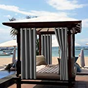 """Outdoor Curtain Garden Patio Gazebo Sunscreen Blackout Curtains, Thermal Insulated Curtains with Grommet   Waterproof& Windproof&UV-protection & Mildew Resistant   (Dark Grey 2 Panels, 52"""" x 94"""")"""
