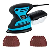 Mouse Detail Sander Tilswall 200W 15,000 RPM Sanders with 12pcs Sanding Pads 140 * 140 * 100mm (80 & 120 Grits), Dust Collection System for Home Decoration, DIY etc