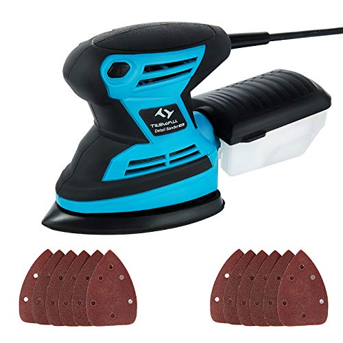 Mouse Detail Sander Tilswall 200W 15,000 RPM Sanders with 12pcs Sanding Pads 140 * 140 * 100mm (80 & 120 Grits), Dust Collection System for Wood, Home Decoration, DIY etc