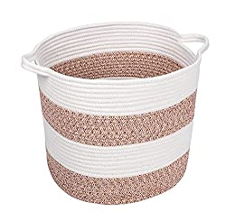 woven basket with tan and white stripes