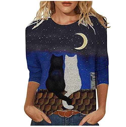 Blusa de manga larga para mujer, parte superior de mujer, camiseta de manga larga, camiseta para mujer, impresión 3D, cuello redondo, túnica, negro B, XL