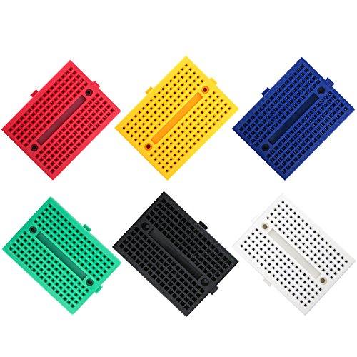 ELEGOO 6 Piezas Breadboard Placa Prototipo Sin Soldaduras con 170 Puntos Realizado en PCB Junta Breadboard Proto Shield de Distribución Bloques de Conexión para Arduino UNO R3 Mega 2560 Nano