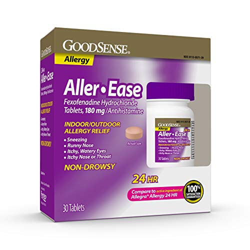 GoodSense Aller-Ease Fexofenadine Hydrochloride Tablets, 180 mg, 30 Count Allergy Pills for Allergy Relief