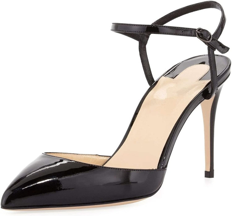 Sammitop Women's Ankle Strap High Heel Sandals Pointed Toe Stilettos Dress shoes
