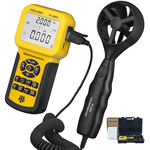 Anemómetro Digital INFURIDER YF-846A, 0,3 a 45 m/s, Medidor de Flujo de Aire con Luz de Fondo y Máx/Mín/Promedio/Actual para Navegación