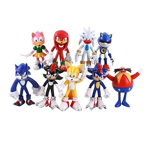 LINJIA Sonic toys 10-13cm 9pcs/lot Sonic Figure Boom Rare Dr Eggman PVC Modelo Juguete Sonic Shadow Tails Personajes Regalo para Niños