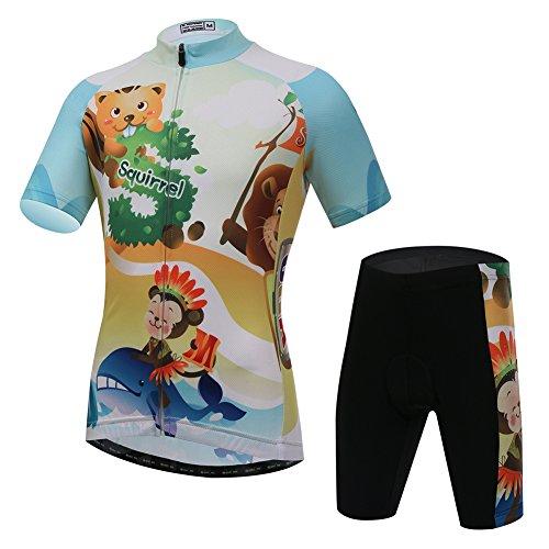 YFPICO Kinder Radtrikot Set Fahrrad Trikot Kurzarm + Radhose mit Sitzpolster Radsport-Anzüge Jungen Mädchen Fahrradbekleidung, Tiere, 104/110
